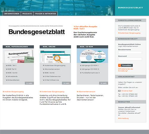 Screenshot Bundesgesetzblatt online